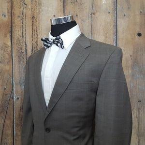 Jos A Bank Suit Mens 42R Wool Tan Glenn Plaid
